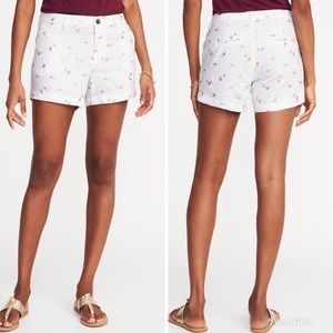 OLD NAVY White Gold Palm Tree Print Linen Shorts